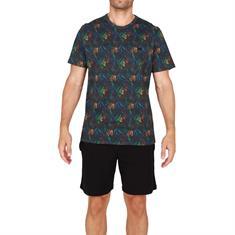 HOM Pyjama Set Short Dark Botanic Zwart