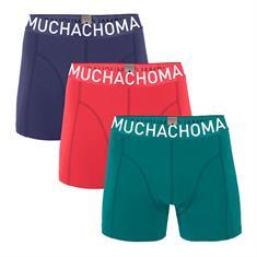Muchachomalo Shorts Effen 3-pack Rood/Blauw/Groen
