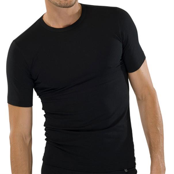 Schiesser 95/5 T-Shirt Ronde Hals Zwart