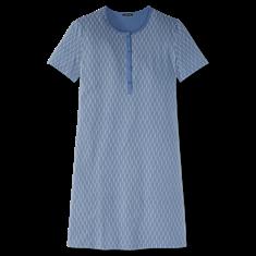 Schiesser Nachthemd Grafisch Dessin Blauw