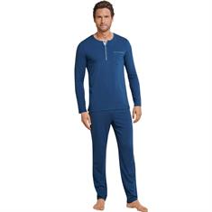 Schiesser Pyjama Long Life Cotton Blauw
