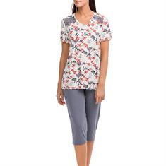 Vamp Pyjama Set Floral Print Grijs/Rood